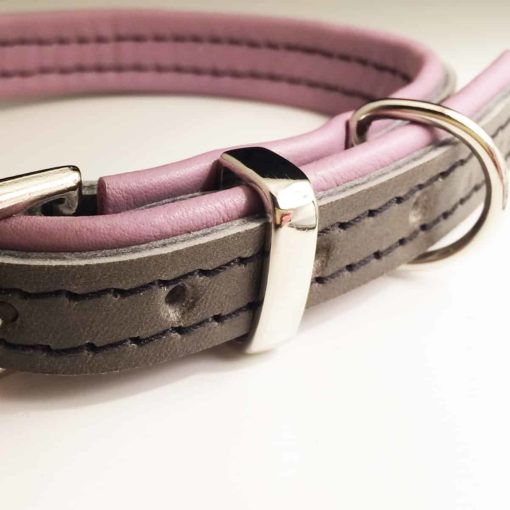 Grey and Dusky Pink Padded Leather Collar