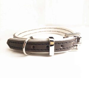 Grey and cream padded leather dog collar