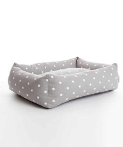 Smoke grey dotty bolster bed