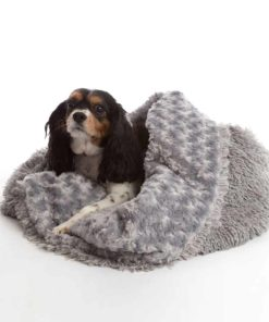 Grey 3 in 1 shaggy nest dog blanket
