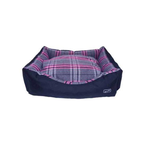Pink tartan check bolster bed