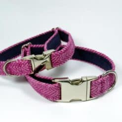 Pink herringbone tweed dog collar