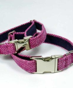 Pink herringbone tweed dog collar