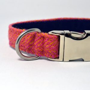 Orange and Pink Blue Herringbone Tweed Dog Collar
