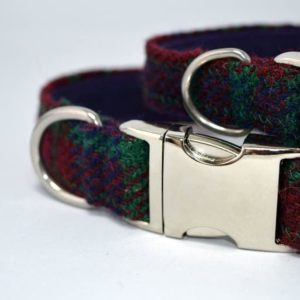 Robertson tartan Harris Tweed Dog Collar