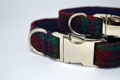 Robertson tartan Harris Tweed Dog Collar
