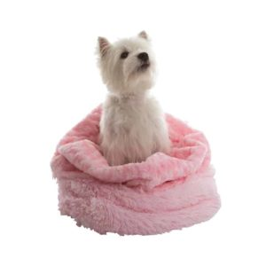 Pink 3 in 1 shaggy nest dog blanket