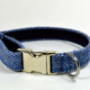 Blue Herringbone Tweed Dog Collar