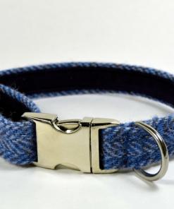 Blue Herringbone Tweed Dog Collar