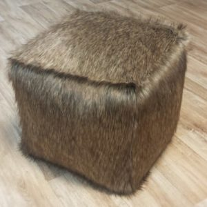 Golden Husky Faux Fur Dog Pouffe / Cube