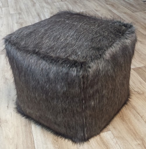 Timber Wolf Faux Fur Pouffe