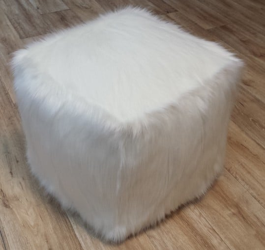 Polar Bear Faux Fur Dog Pouffe / Cube