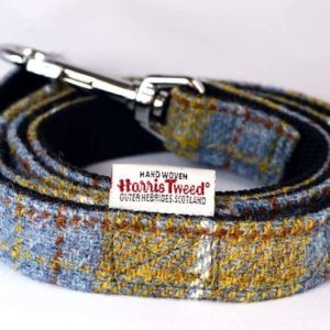 Yellow and Blue Check Harris Tweed Dog Lead