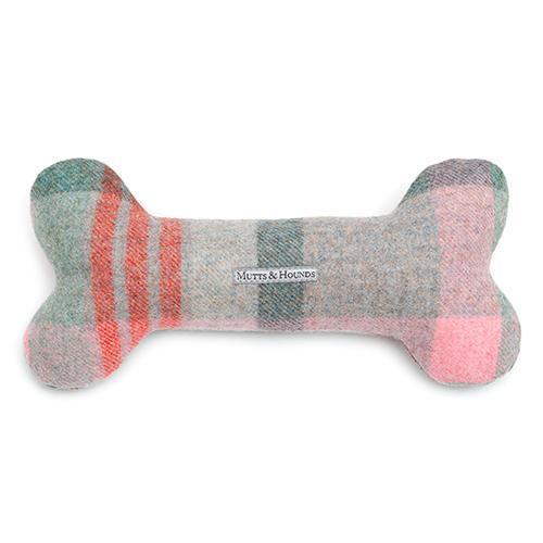Macaroon Check Tweed Squeaky Bone Toy