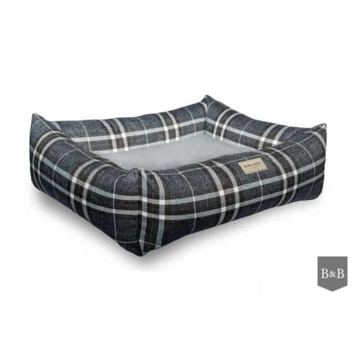 Blue Scott bolster dog bed. Luxury Dog Beds UK