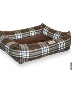 Brown Scott bolster dog bed. Luxury Dog Beds UK