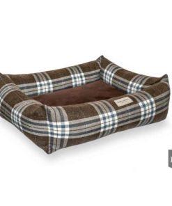 Brown Scott bolster dog bed