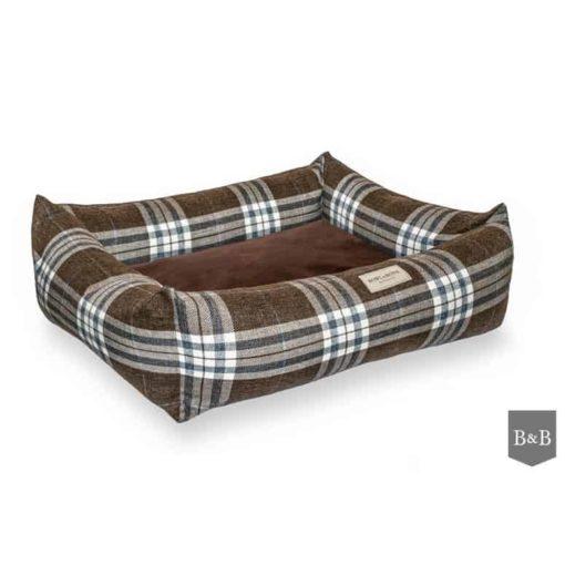 Brown Scott bolster dog bed. Luxury Dog Beds UK