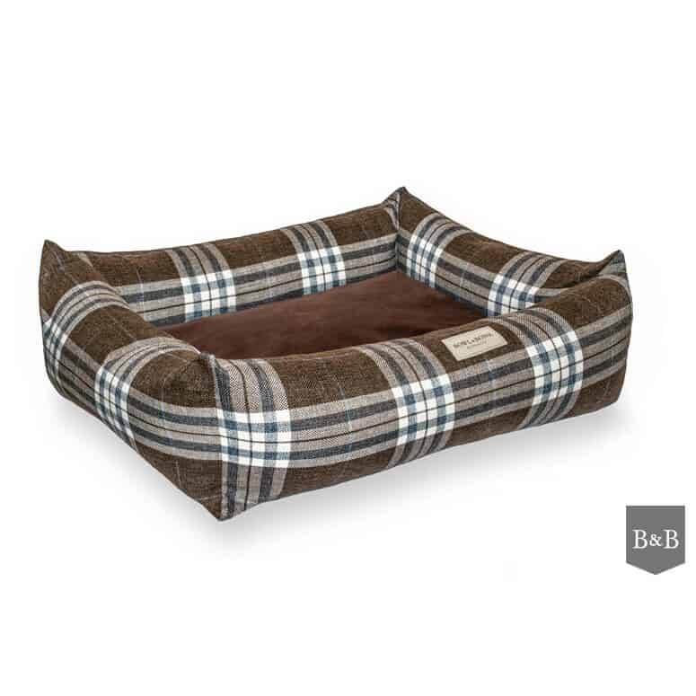 Brown Scott bolster dog bed