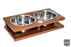 Amber Large Double Wooden Dog Bowls
