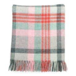 Macaroon Check Wool Blanket