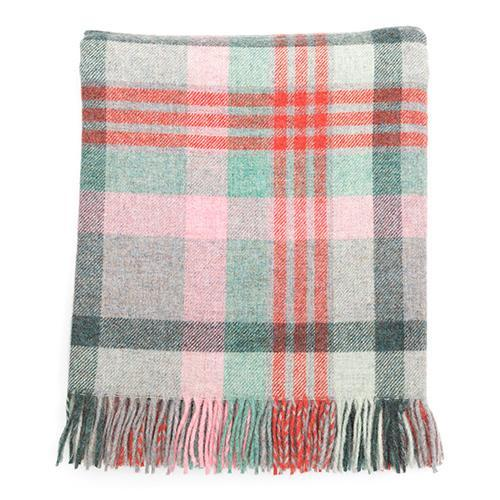 Macaroon Check Wool Blanket