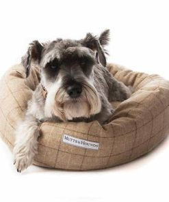 Oatmeal beige check tweed donut dog beds