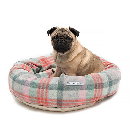 Macaroon Check Tweed Donut Bed. Luxury Dog Beds UK