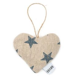 Navy Star Linen Lavender Heart