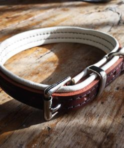 Brown and cream padded leather dog collar
