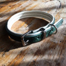 Forest green and cream padded leather dog collar