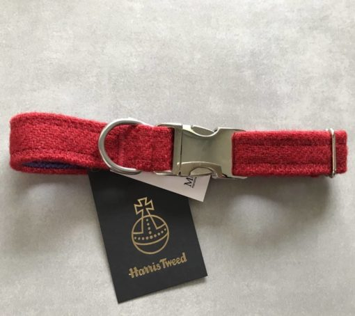 Pilar box red tweed dog collar