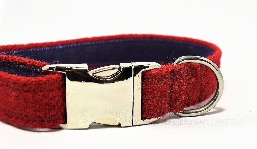 Red Harris Tweed Dog Collar