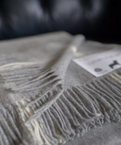 Dusky brown pure new wool throw blanket