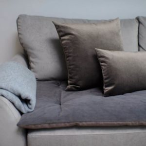 Mole Brown and grey velvet sofa topper