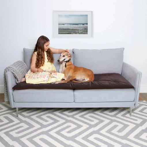 Mole Brown and grey velvet sofa topper