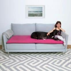 Pink wool sofa topper