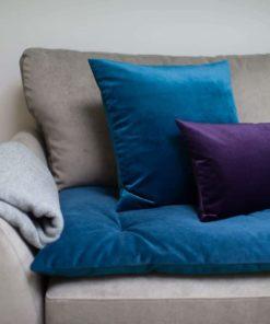 Teal Velvet sofa topper
