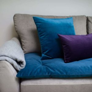 Teal Velvet sofa topper