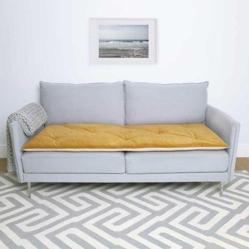 Tumeric Yellow Velvet sofa topper. Dog Sofa protection