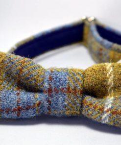 Mustart and blue Harris Tweed bow tie