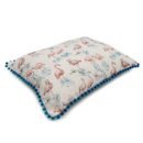 Flamingo Linen Pillow Bed with Pom Poms