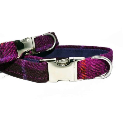 Berry Check Harris Tweed Dog Collar