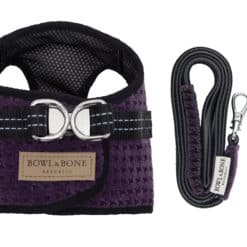 Purple dog harness and lead Bowl and Bone