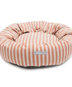Orange Striped Brushed Cotton Donut Dog Bed