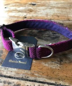 Berry check Harris tweed dog collar