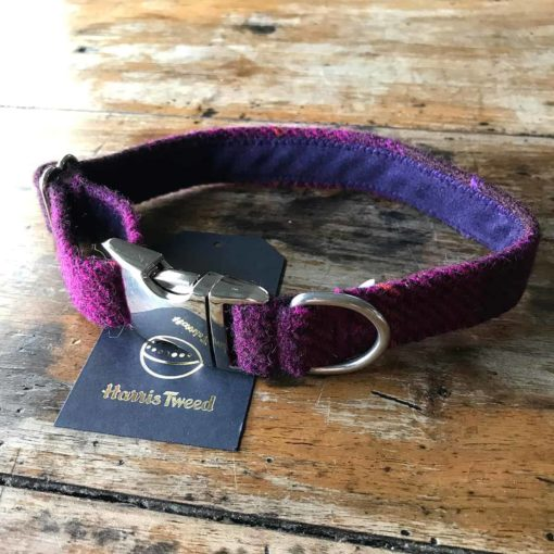 Berry check Harris tweed dog collar. Luxury dog collar