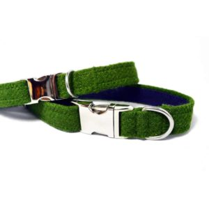 Green Harris Tweed Dog Collar