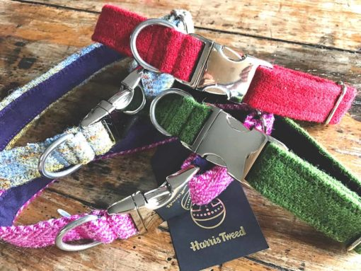 Harris tweed luxury dog collars