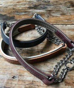 Burgundy red and half check chain dog collar